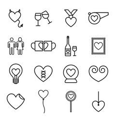 valentine line icon set vector image