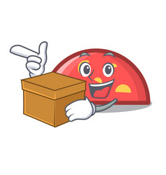 with box semicircle character cartoon style vector image