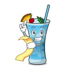 With menu blue hawaii mascot cartoon vector