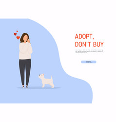 woman adopting pet from animal shelter colorful vector image