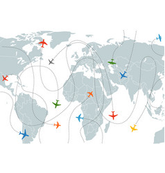 World map with aircraft paths vector