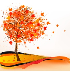 Autumn background with a tree vector image vector image