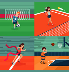 colorful sport square composition vector image vector image
