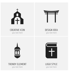 set of 4 editable religion icons includes symbols vector image vector image