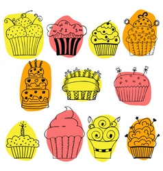 set of hand drawn cupcakes on white background vector image vector image