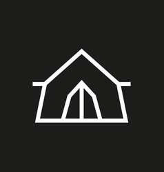 tent icon on black background vector image
