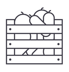 vegetables in harvest box line icon sign vector image vector image