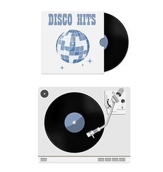 Vinyl record and player vector image vector image