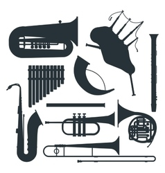 Wind musical instruments silhouette vector