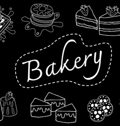 bakery doodle black vector image