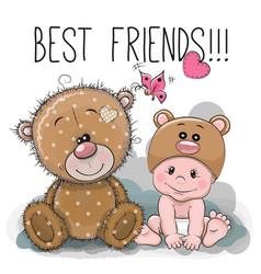 Cartoon baby in a bear hat and teddy bear vector