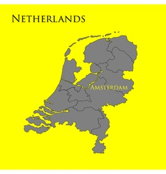 Contour map of Netherlands on a yellow 01 vector image vector image
