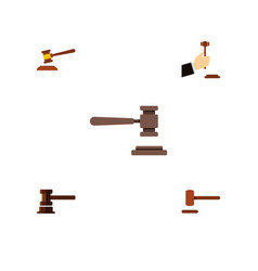 flat icon hammer set of hammer legal law and vector image vector image