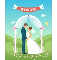 Flat Wedding Composition vector image vector image