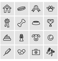 line dog icon set vector image vector image