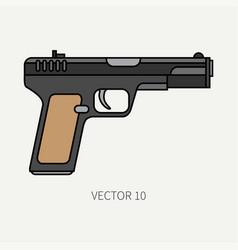 Line flat color military icon handgun vector