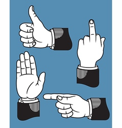 Set of hand gestures based on printers pointer vector image vector image