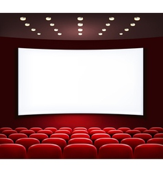 Cinema with white screen and seats vector image vector image