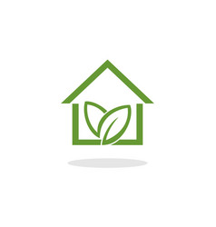 green home with leaf logo vector image vector image