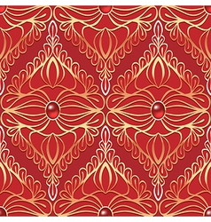 Vintage seamless pattern with red gemstones vector image vector image