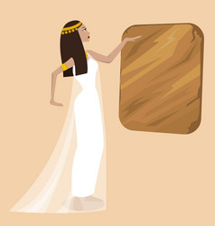 ancient cartoon egiptian woman vector image