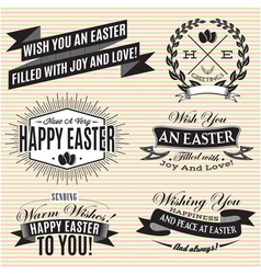 Black and white set of easter labels vector
