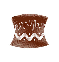Drawing cake chocolate baked vector