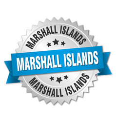 marshall islands round silver badge vector image