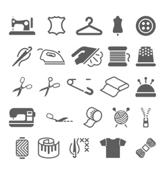 sewing equipment and needlework icons set vector image vector image
