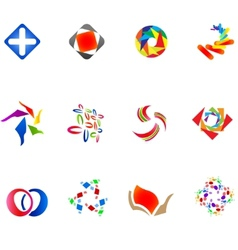 12 colorful symbols set 14 vector image