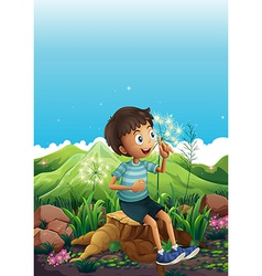 A boy thinking while sitting above a stump vector image