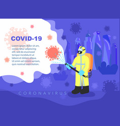 A man in overalls disinfects fight against covid19 vector