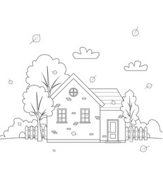 Autumn landscape with country house lineart vector