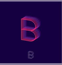 B letter building flat logo pink and violet vector