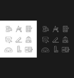 Back to school shopping linear icons set for dark vector