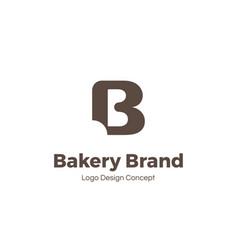 bakery logo template letter b bite mark vector image