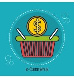 Basket e-commerce shop online design vector