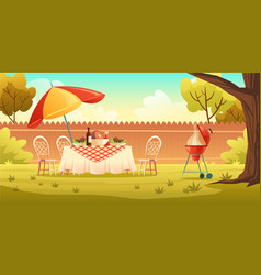 bbq party on backyard with cooking grill vector image