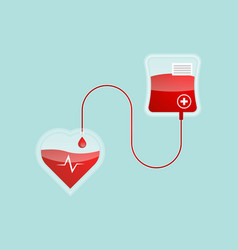 blood pour form blood bag to heart shape vector image