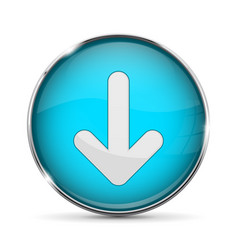 Blue down button with white arrow shiny 3d icon vector