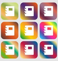 Book icon Nine buttons with bright gradients for vector