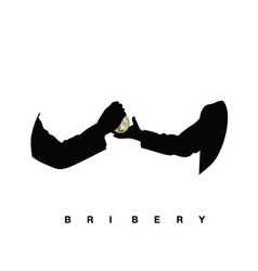 bribery with hands black vector image