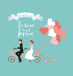 bride and groom on tandem bicycle with balloons vector image