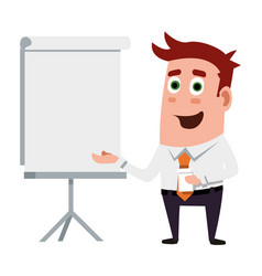 business flat character is making presentations vector image