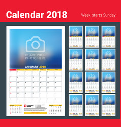 calendar planner template for 2018 year design vector image