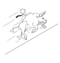 Cartoon drawing of businessman riding on bull vector
