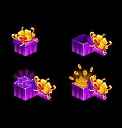 cartoon isometric gift box open and closed vector image