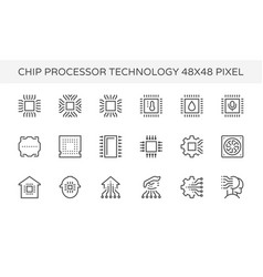 chip processor tecnology icon vector image