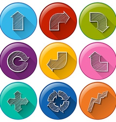 Circle buttons with different arrows vector image