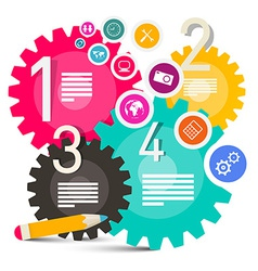 Colorful Infographics with Cogs - Gears and Icons vector image